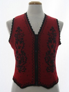 1980's Womens Gothic Look Ugly Christmas Sweater Vest