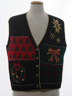 1980's Womens Vintage Ugly Christmas Sweater Vest
