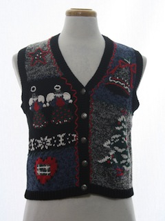 1980's Womens Classic Ugly Christmas Sweater Vest