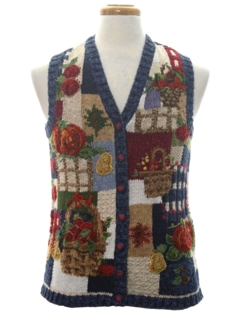1980's Womens Ugly Before Christmas Thanksgiving Sweater Vest