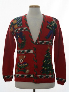 1990's Unisex Ladies or Boys Ugly Christmas Cardigan Sweater