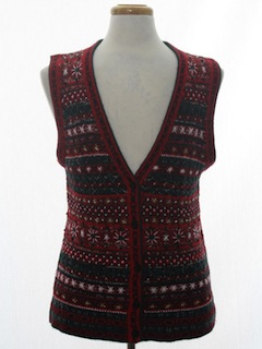 1980's Womens Classic Style Ugly Christmas Sweater Vest