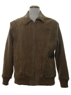1980's Mens Leather Paneled Cardigan Sweater