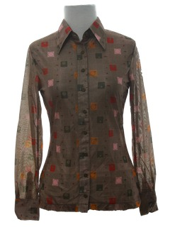 1970's Womens/Girls Print Disco Shirt