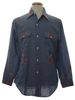 1970's Mens Chambrey Hippie Shirt