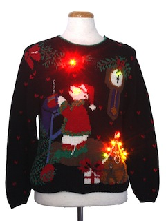 1980's Unisex Bear-riffic Multicolor Lightup Ugly Christmas Sweater