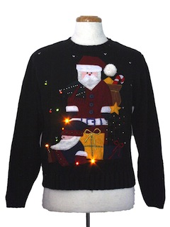 1980's Womens Amber Lightup Ugly Christmas Sweater
