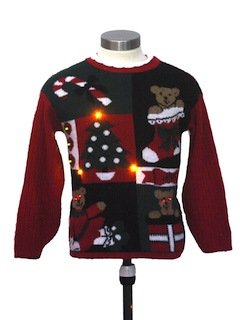 1980's Unisex/Childs Vintage Amber Lightup Ugly Christmas Sweater
