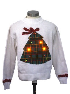 1980's Womens Mulitcolor Lightup Ugly Christmas Sweater
