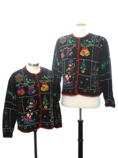 1980's Womens Matching Pair of Two Ugly Christmas Sweaters