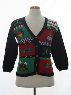 1980's Unisex Petite Ladies, Girls or Boys Ugly Christmas Cardigan Sweater