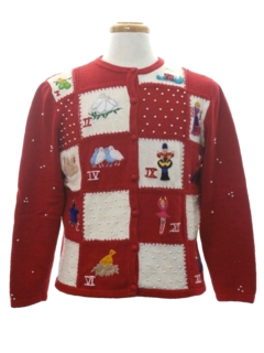 1980's Womens 12 Days of Christmas Ugly Christmas Sweater
