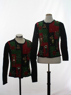 1980's Womens Matching Set of Ugly Christmas Sweaters
