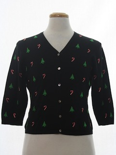 1980's Womens or Girls Petite Ugly Christmas Cardigan Sweater