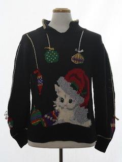 1980's Unisex Vintage Cat-Tastic Ugly Christmas Sweater
