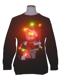 1980's Unisex Multicolor Lightup Bear-riffic Ugly Christmas Sweater