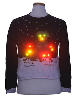 1990's Womens Multicolor Lightup Dog-gonnit Ugly Christmas Sweater