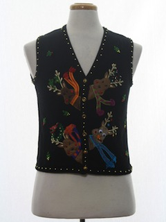1990's Womens or Girls Ugly Christmas Sweater Vest