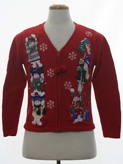 1980's Womens or Girls Ugly Christmas Cardigan Sweater
