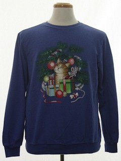 1980's Unisex Cat-Tastic Ugly Christmas Sweatshirt