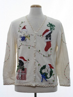 1980's Unisex Dog-gonnit Ugly Christmas Cardigan Sweater