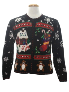 1980's Womens Bear-riffic Ugly Christmas Sweater