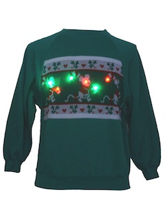 1980's Unisex Red/Green Lightup Ugly Christmas Sweater Look Sweatshirt