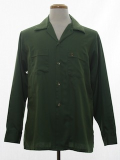 1960's Mens Mod Cotton Gabardine Sport Shirt