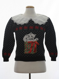 1980's Womens Cat-Tastic Vintage Ugly Christmas Sweater