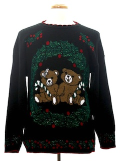1980's Unisex Bear-riffic Vintage Ugly Christmas Sweater