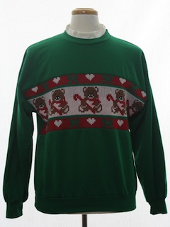 1980's Unisex Bear-riffic Vintage Sweater Look Ugly Christmas Sweatshirt