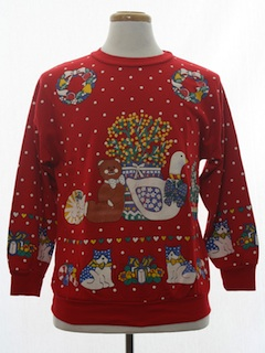 1980's Unisex Country Kitsch Vintage Ugly Christmas Sweatshirt