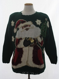 1980's Unisex Black Santa Ugly Christmas Sweater