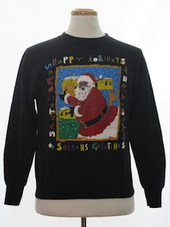 1990's Unisex Black Santa Ugly Christmas Sweatshirt