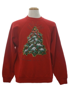 1980's Unisex Puffy Glitter Painted Ugly Christmas Sweatshirt