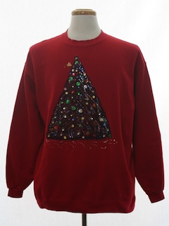 1980's Unisex Puffy Painted and Bedazzled Ugly Christmas Sweatshirt