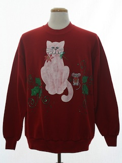 1980's Unisex Cat-Tastic Puffy Painted Ugly Christmas Sweatshirt