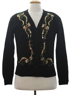1980's Womens Ugly Christmas Cocktail Cardigan Sweater