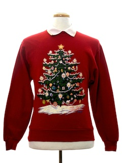 1980's Womens or Girls Ugly Christmas Sweatshirt