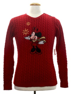 1980's Womens or Girls Minnie Mouse Ugly Christmas Sweater