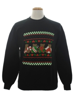1980's Unisex Bear-riffic Country Kitsch Ugly Christmas Sweatshirt