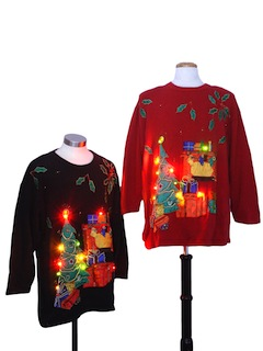 1980's Unisex Multicolor Lightup Ugly Christmas Matching Set of Sweaters