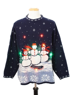 1980's Unisex Vintage Multicolor Lightup Ugly Christmas Sweater
