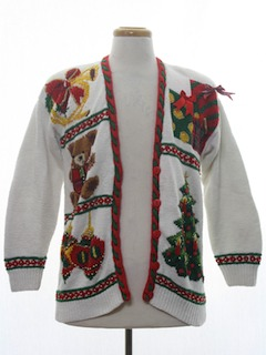 1990's Unisex Open Front Vintage Ugly Christmas Cardigan Sweater