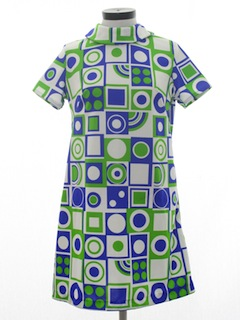 1960's Womens Mod Op-Art Knit Dress