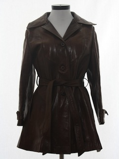 1970's Womens Leather Coat Jacket