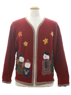 1990's Unisex Country Kitsch Ugly Christmas Cardigan Sweatshirt
