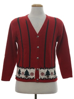 1980's Womens Classic Look Ugly Christmas Cardigan Sweater