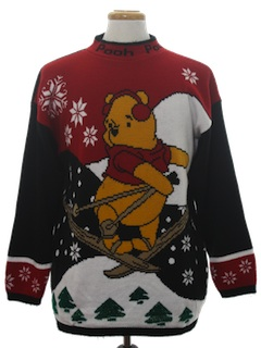 1980's Unisex Vintage Winnie The Pooh  Ugly Christmas Sweater