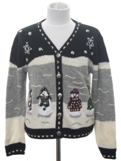 1980's Womens/Girls Ugly Christmas Cardigan Sweater